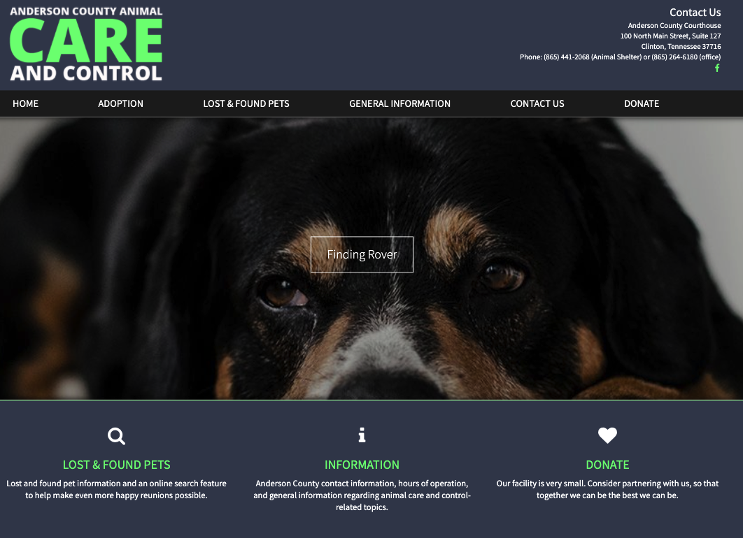 Anderson County TN Animal Care and Control Website Design